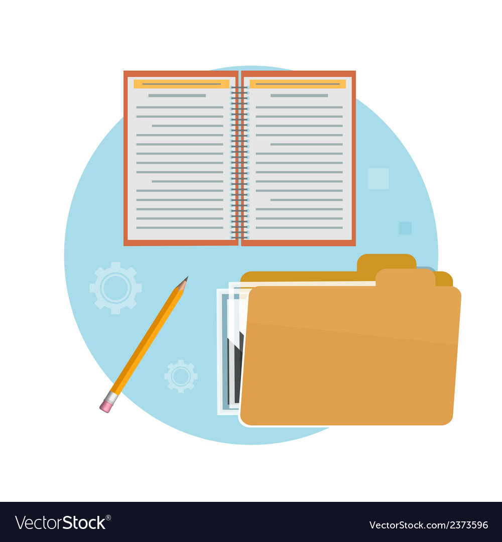 Folder notebook and pencil vector | Price: 1 Credit (USD $1)