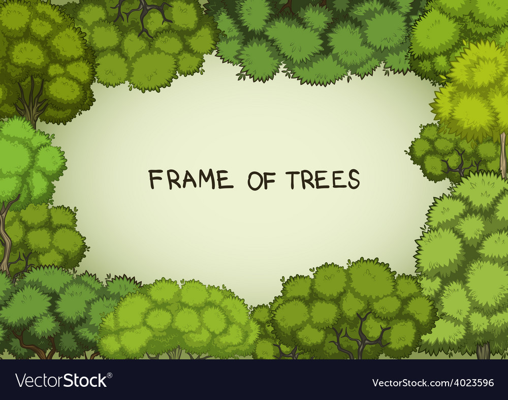 Horizontal frame of the cartoon deciduous trees vector | Price: 1 Credit (USD $1)