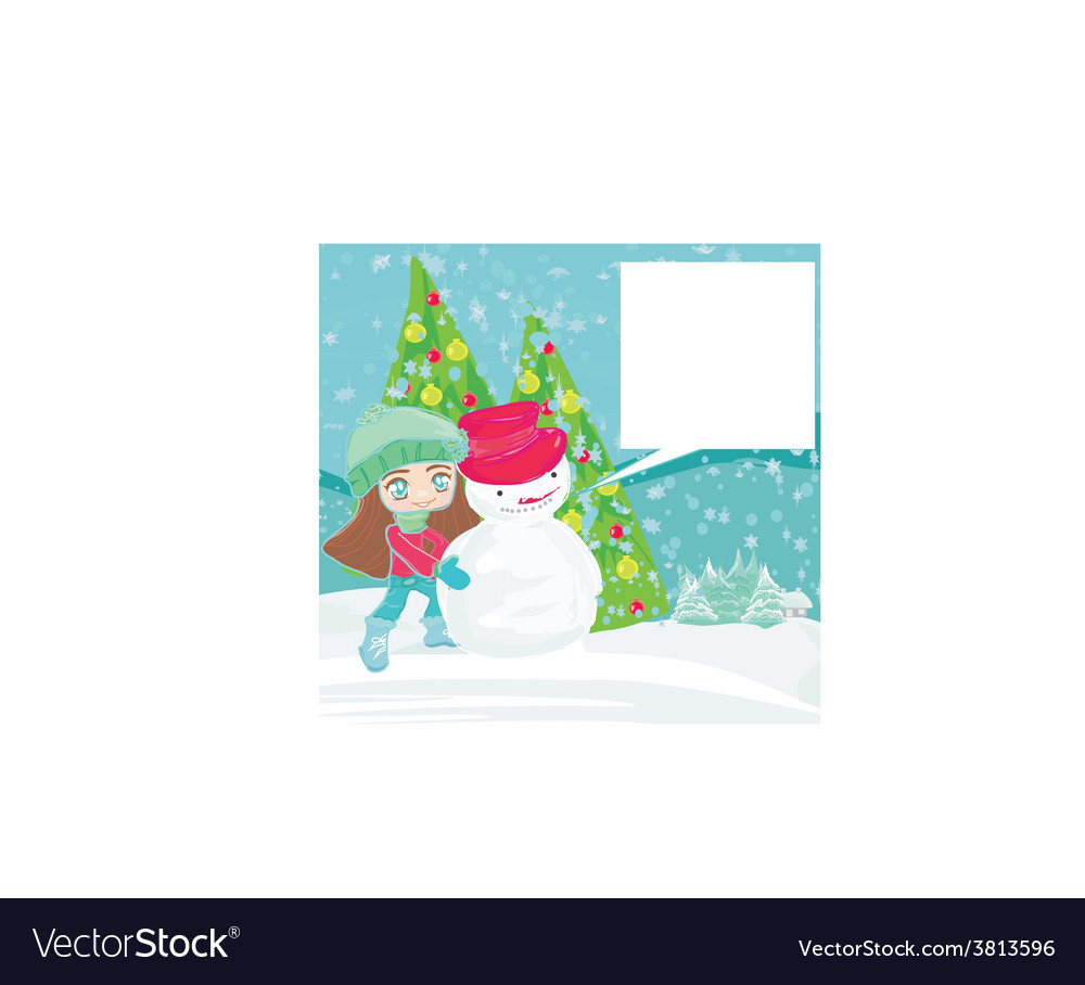 Little girl and snowman card vector | Price: 1 Credit (USD $1)