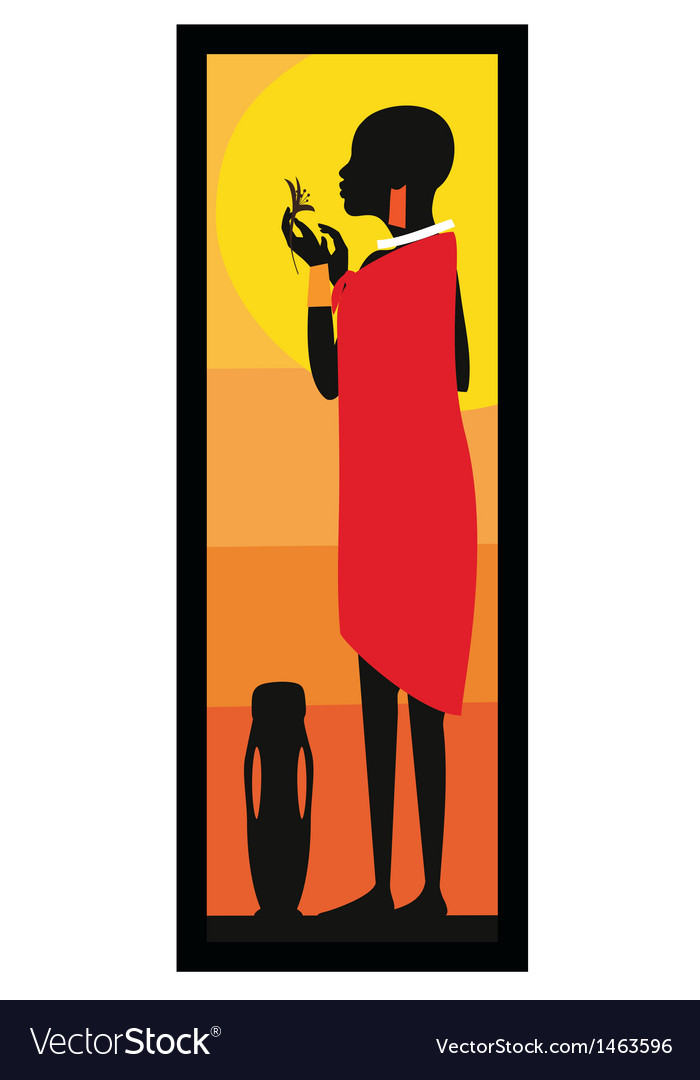 Masaj woman standing against african sunset- vector | Price: 1 Credit (USD $1)