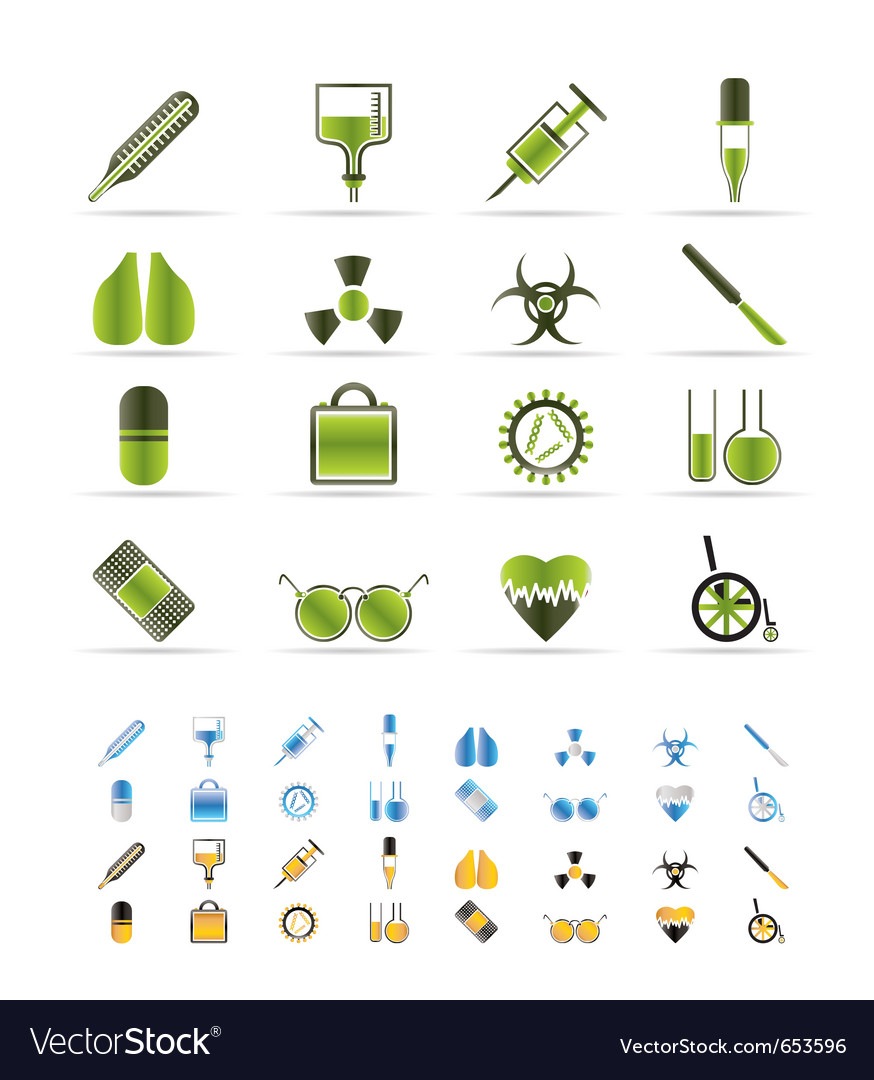 Medical themed icons and warning-sign vector | Price: 1 Credit (USD $1)