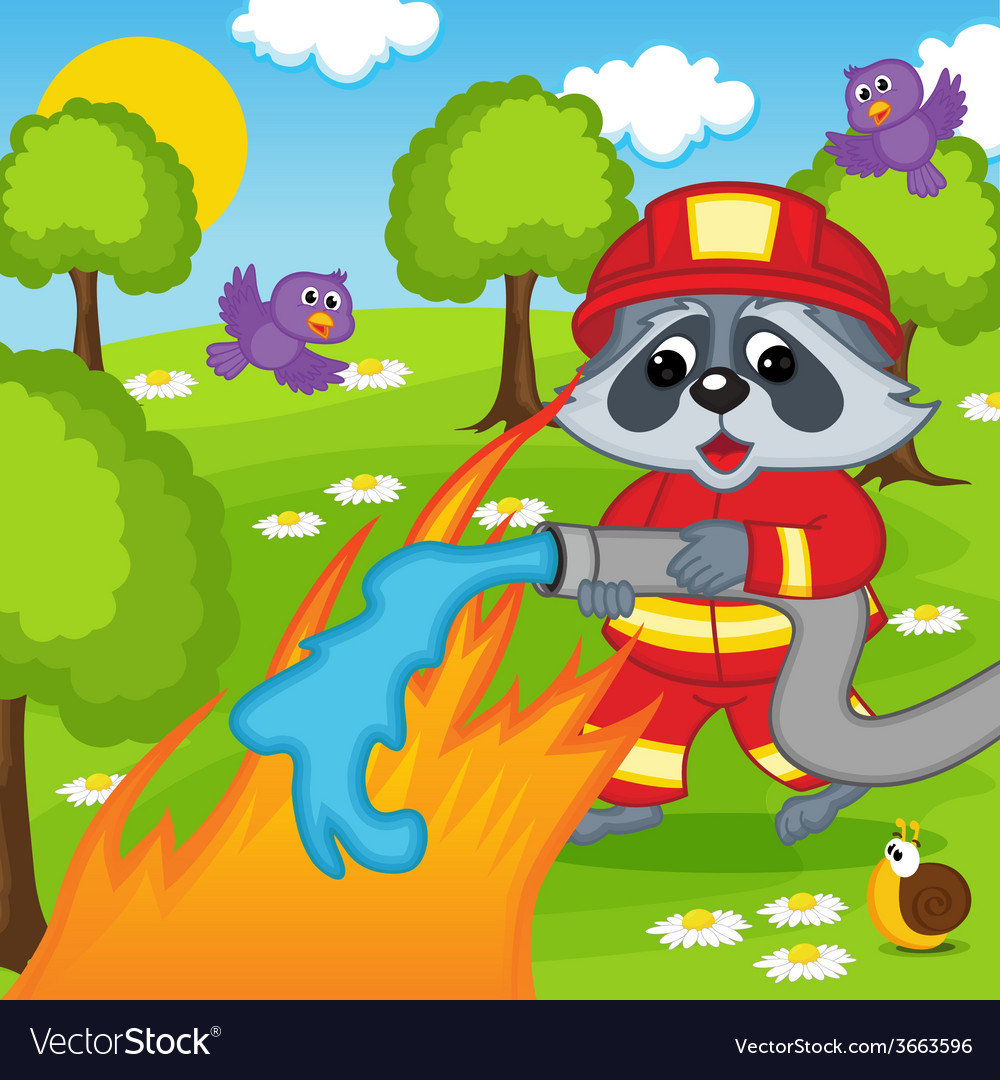 Raccoon firefighter extinguishes fire in forest vector | Price: 3 Credit (USD $3)