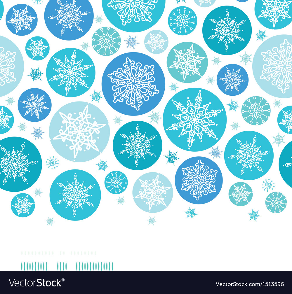 Round snowflakes horizontal border seamless vector | Price: 1 Credit (USD $1)