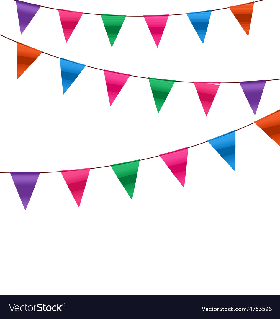 Set colorful buntings flags garlands for holiday vector | Price: 1 Credit (USD $1)