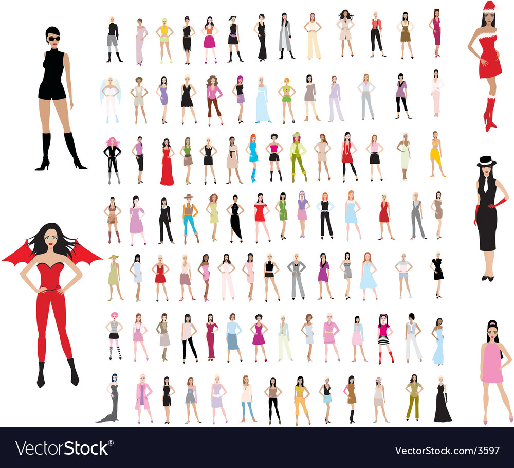 100 girls vector | Price: 1 Credit (USD $1)