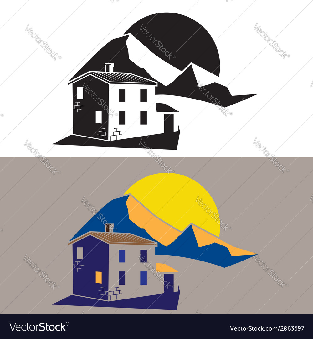 Country house in the mountains vector | Price: 1 Credit (USD $1)