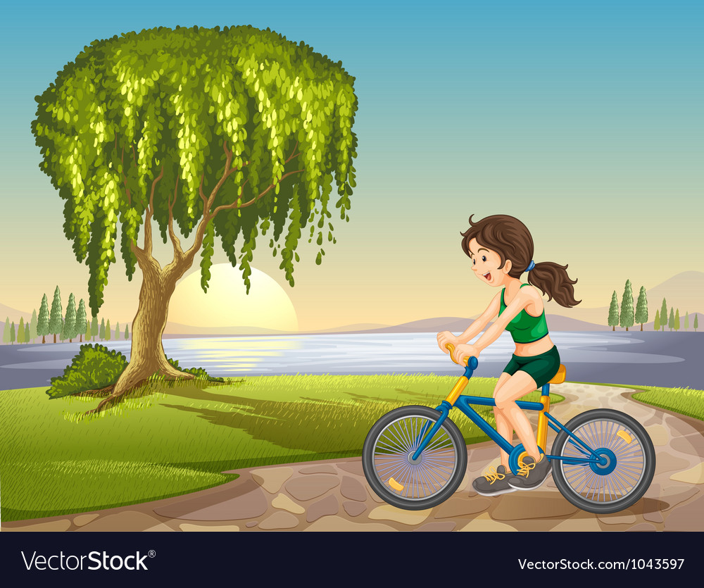 Girl riding bike background vector | Price: 1 Credit (USD $1)