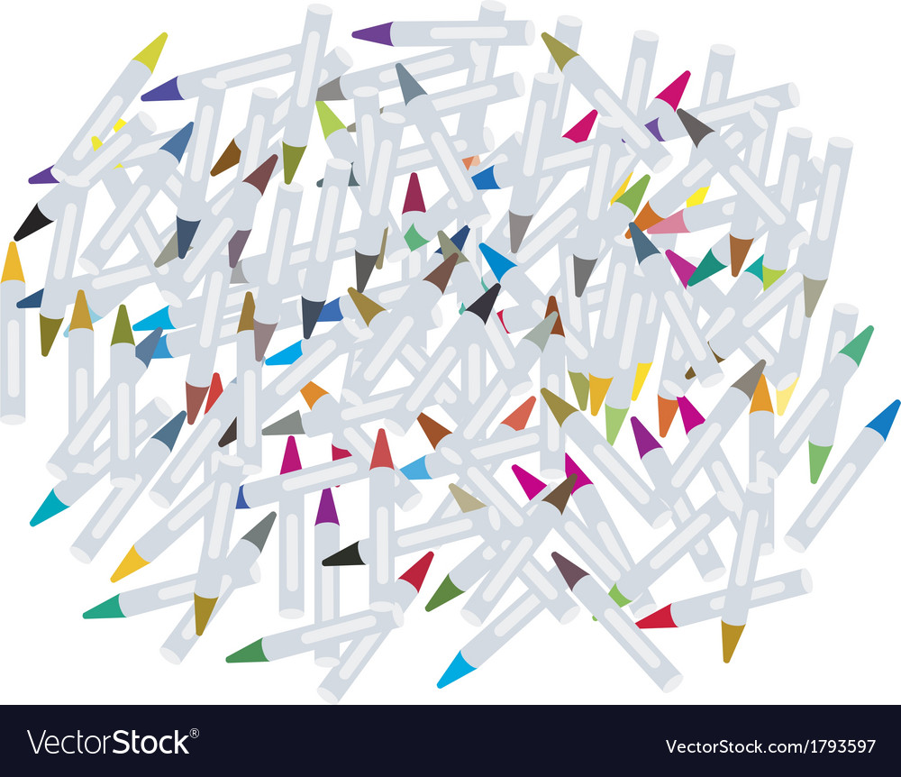 Group of wax crayons on white background vector | Price: 1 Credit (USD $1)