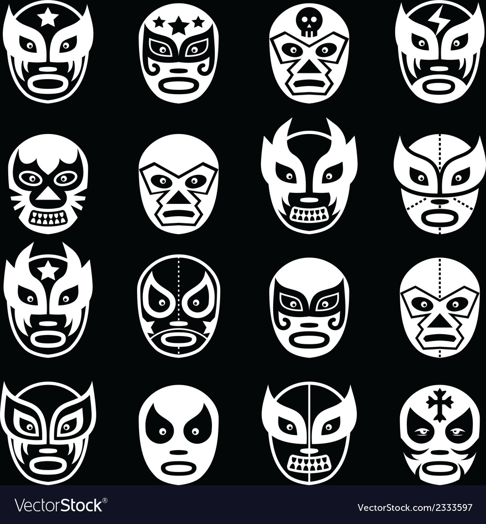 Lucha libre luchador mexican wrestling white mask vector | Price: 1 Credit (USD $1)