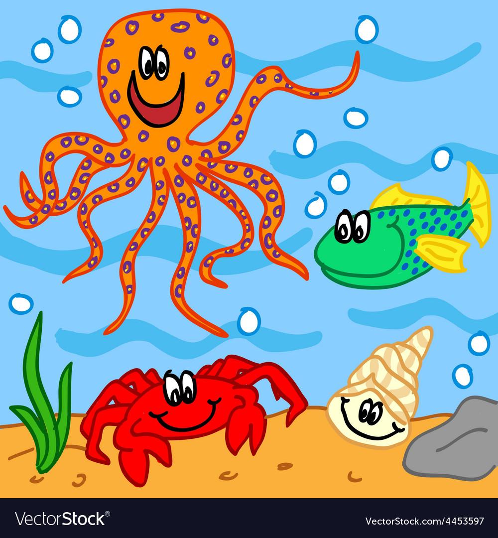 Marine life cartoon characters vector | Price: 1 Credit (USD $1)