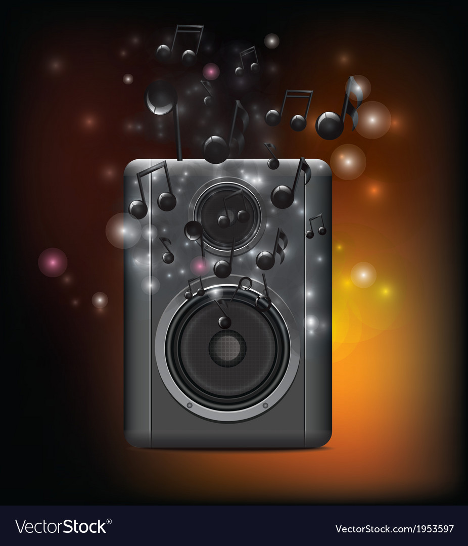 Music speakers with melody vector | Price: 1 Credit (USD $1)
