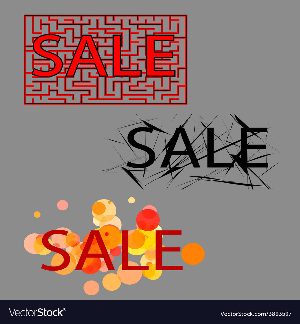Sale set of three tag vector | Price: 1 Credit (USD $1)