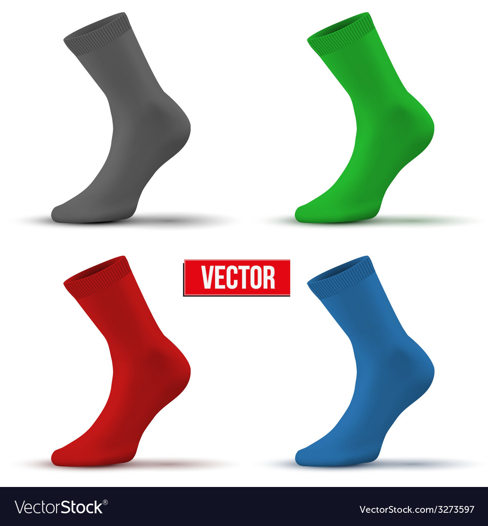 Set of different colors realistic layout socks a vector | Price: 1 Credit (USD $1)