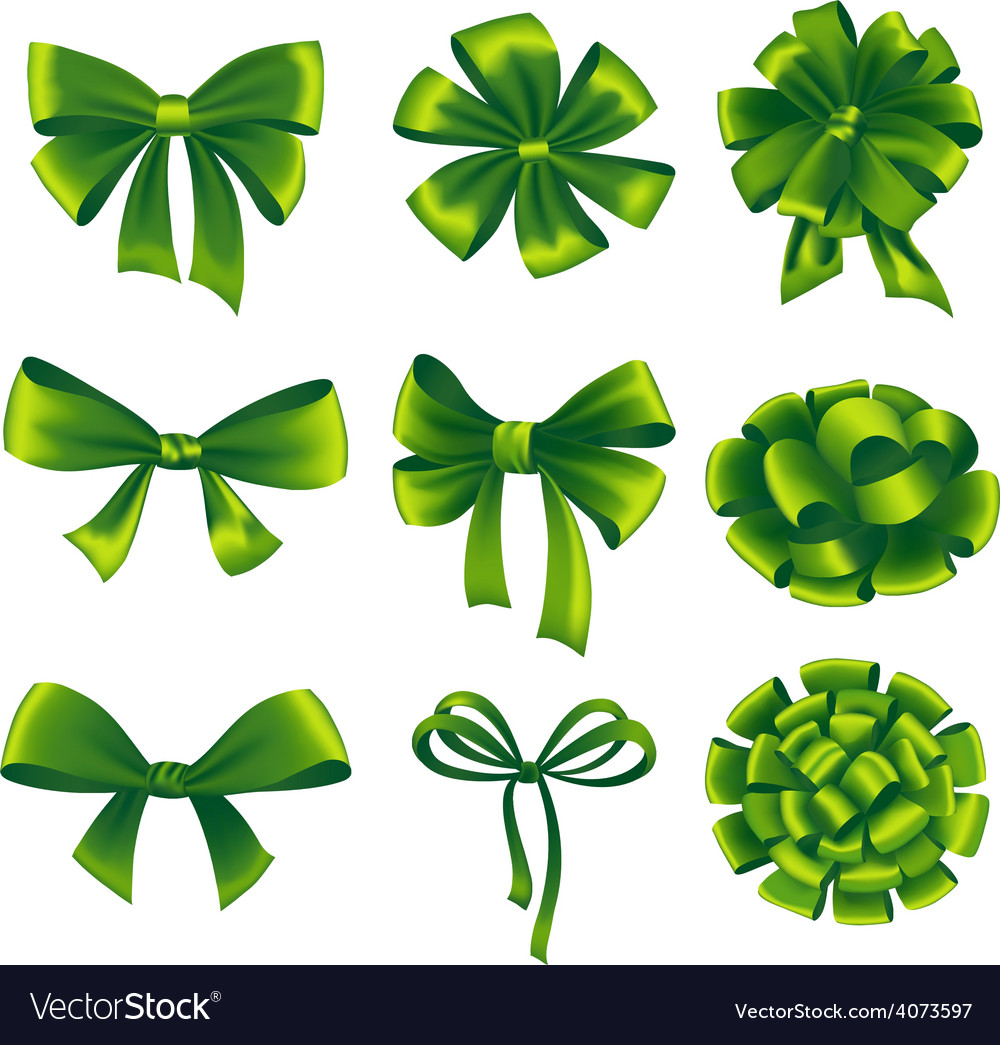 Set of green gift bows with ribbons vector | Price: 3 Credit (USD $3)