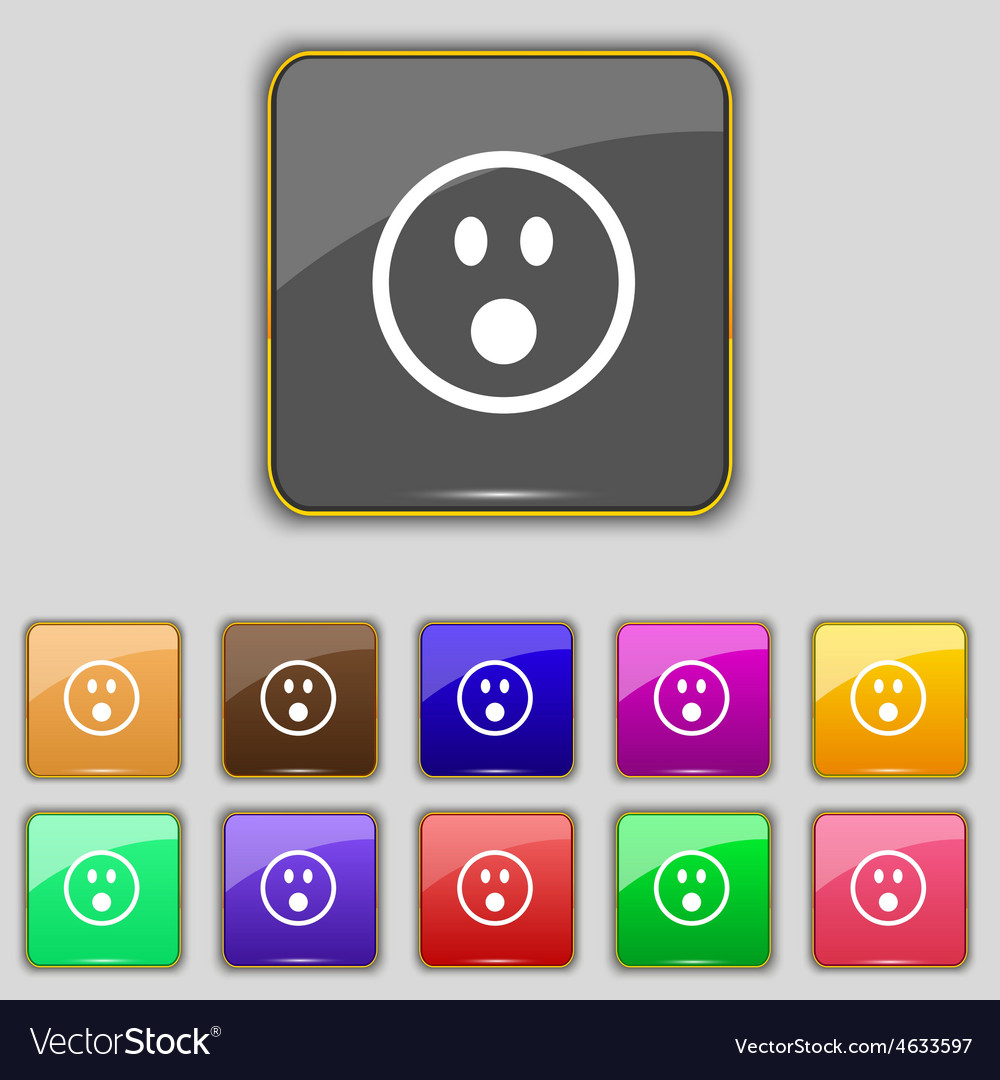 Shocked face smiley icon sign set with eleven vector | Price: 1 Credit (USD $1)