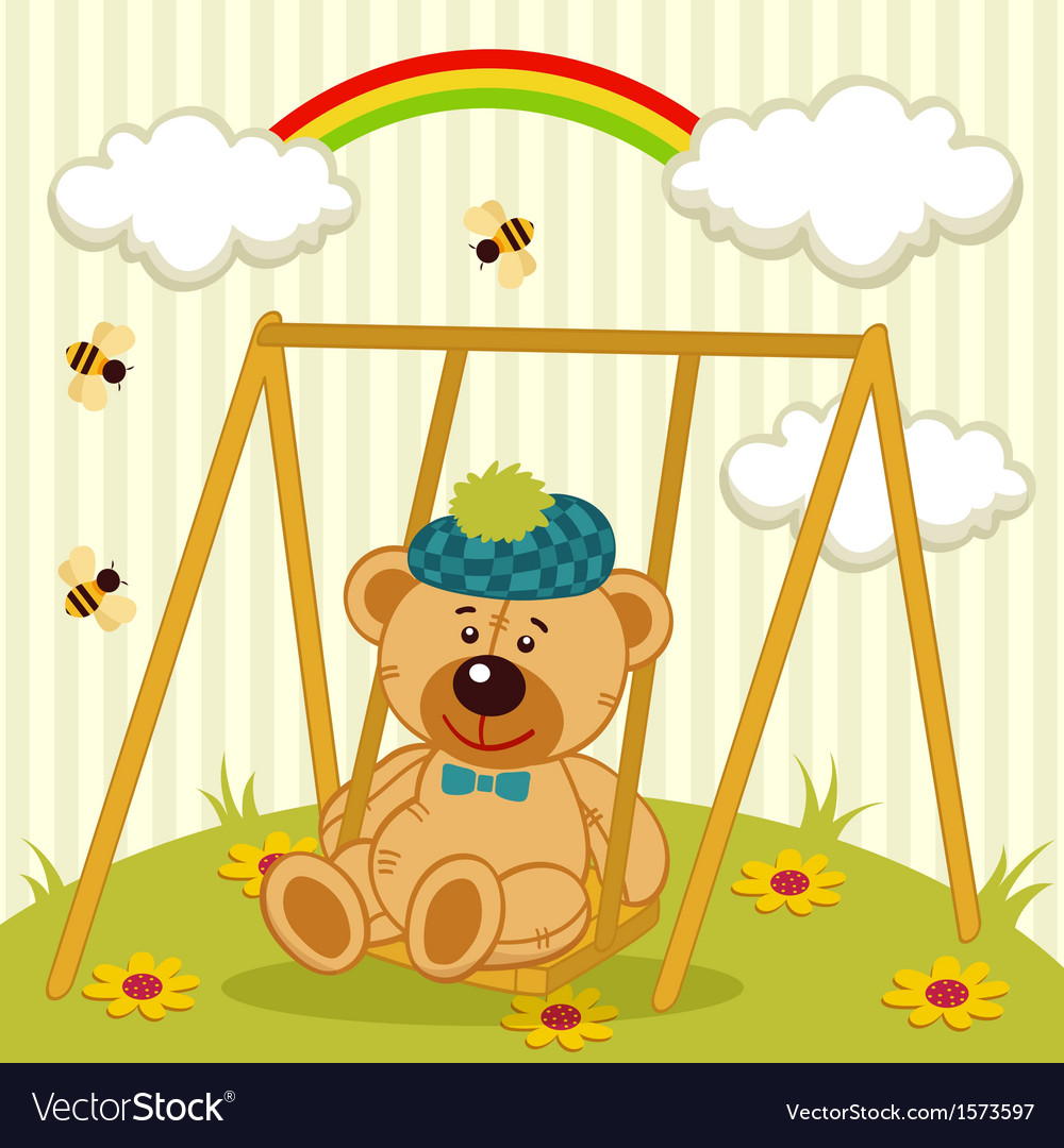 Teddy bear on swing vector | Price: 3 Credit (USD $3)