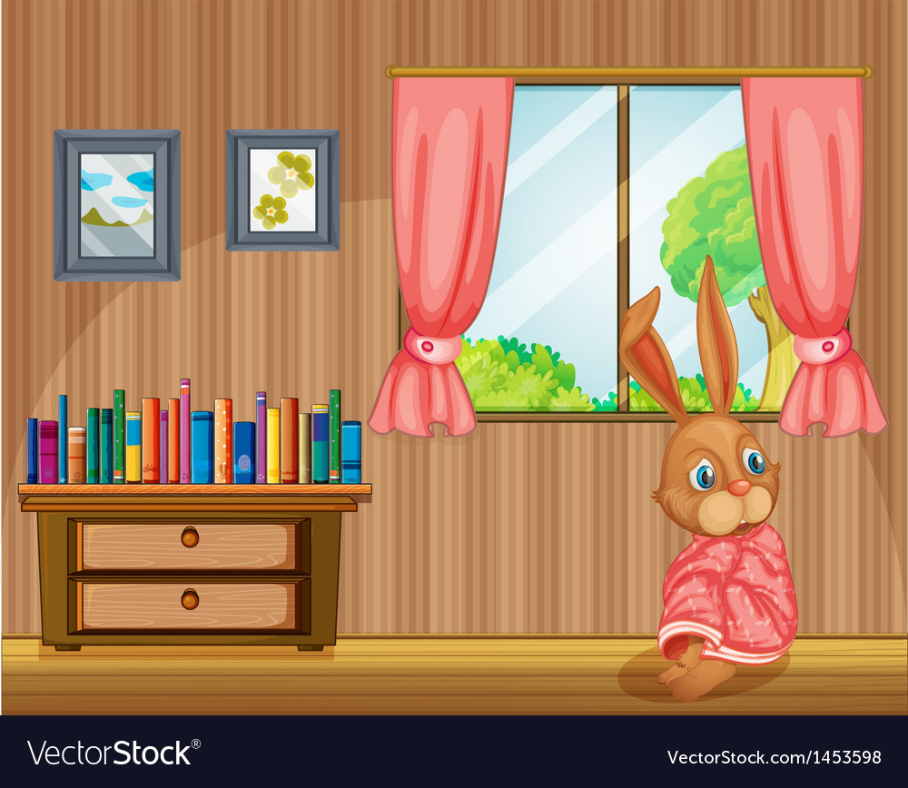 A bunny feeling cold inside the house vector | Price: 1 Credit (USD $1)