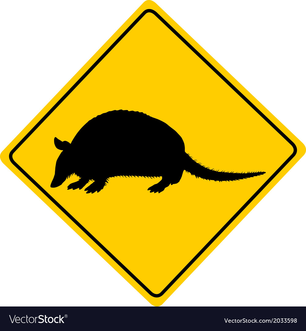 Armadillo warning sign vector | Price: 1 Credit (USD $1)