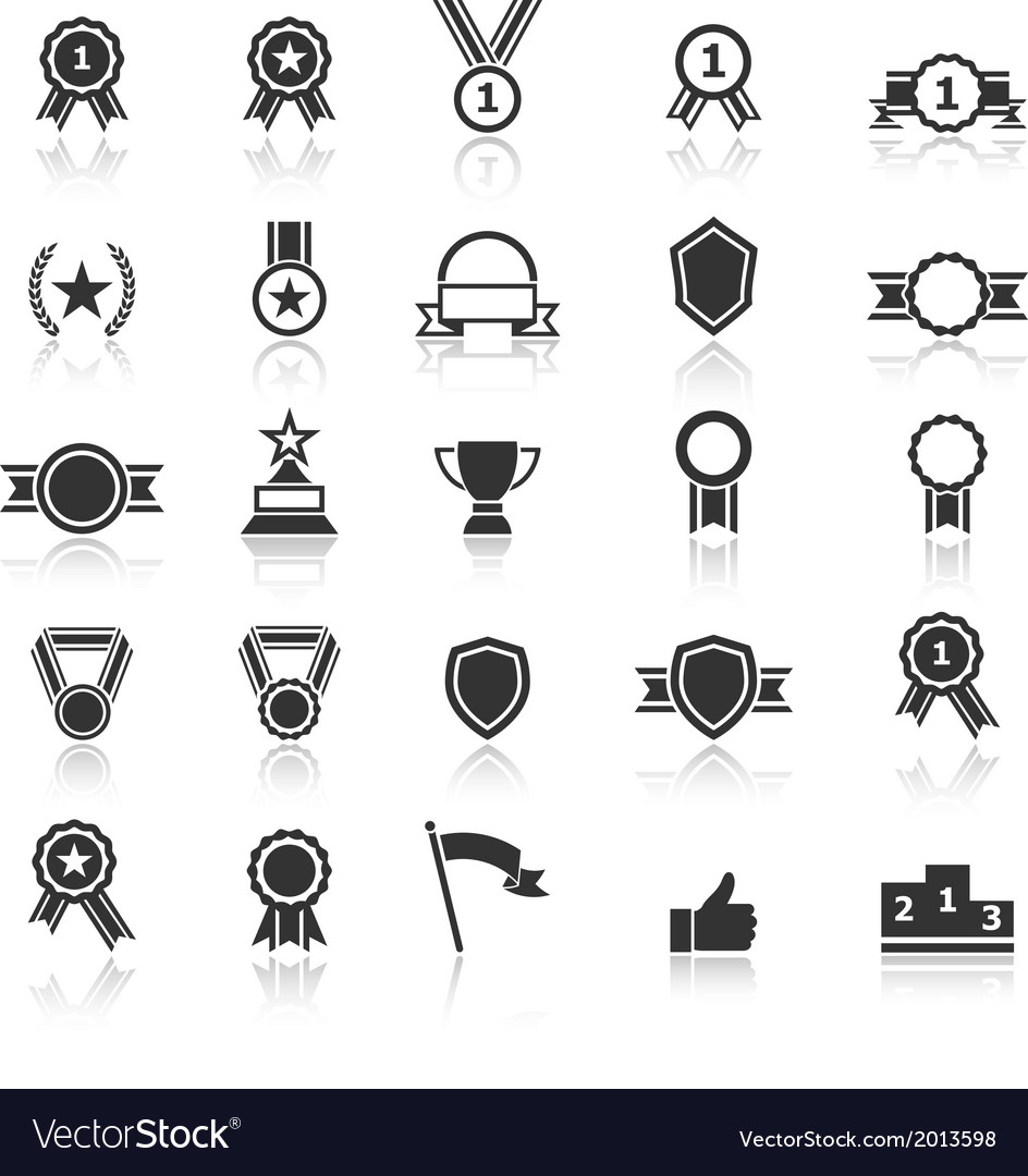 Award icons with reflect on white background vector | Price: 1 Credit (USD $1)
