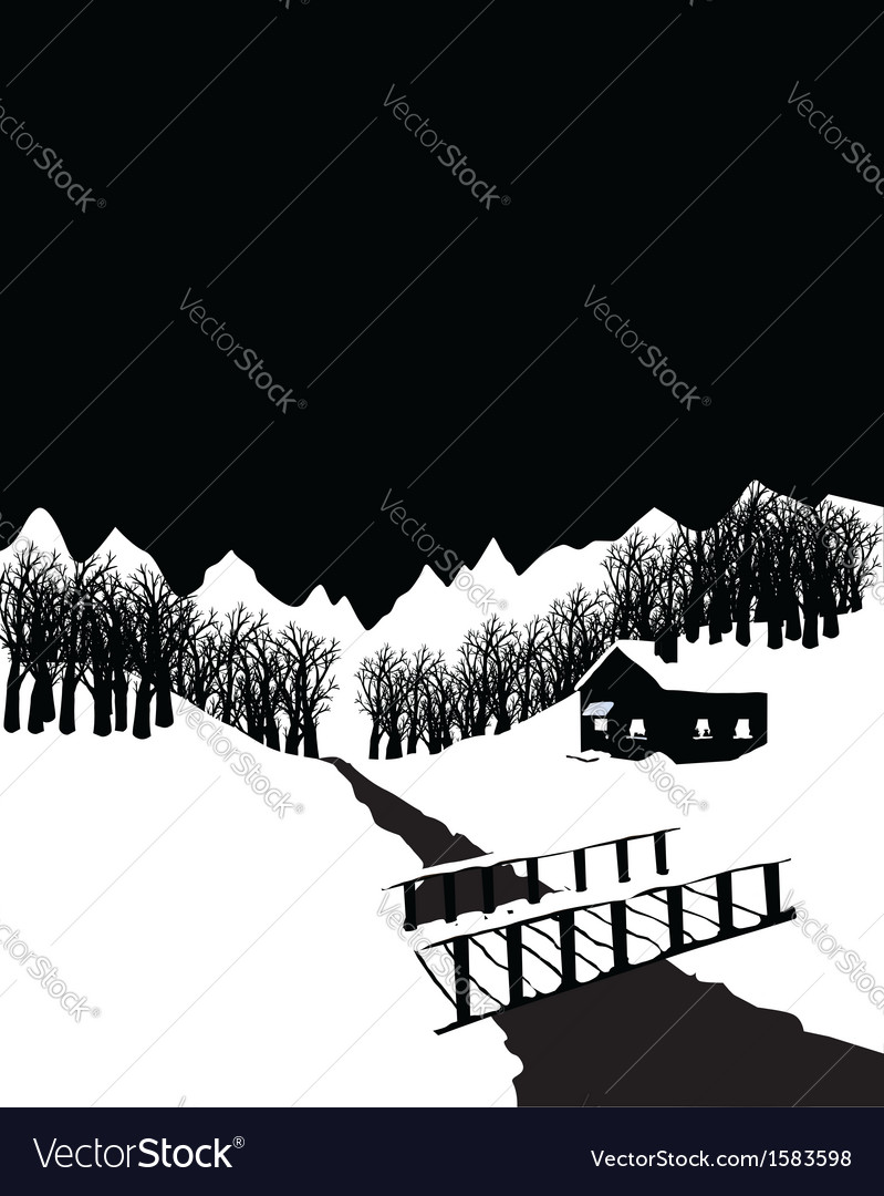 Black and white winter landscape with cottage in vector | Price: 1 Credit (USD $1)
