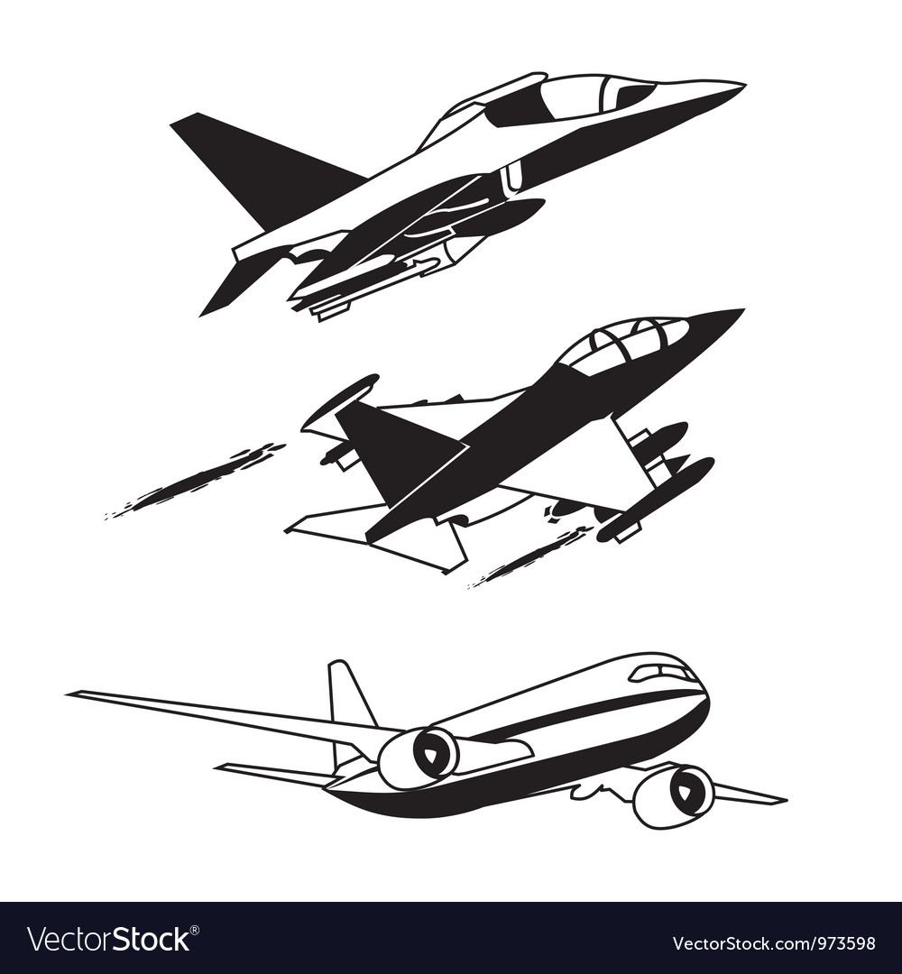 Black plane contour vector | Price: 1 Credit (USD $1)
