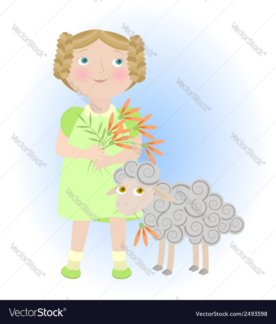 Cartoon girl with sheep aries zodiac sign vector | Price: 1 Credit (USD $1)