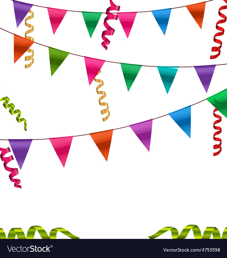 Colorful buntings flags garlands and serpentine vector | Price: 1 Credit (USD $1)