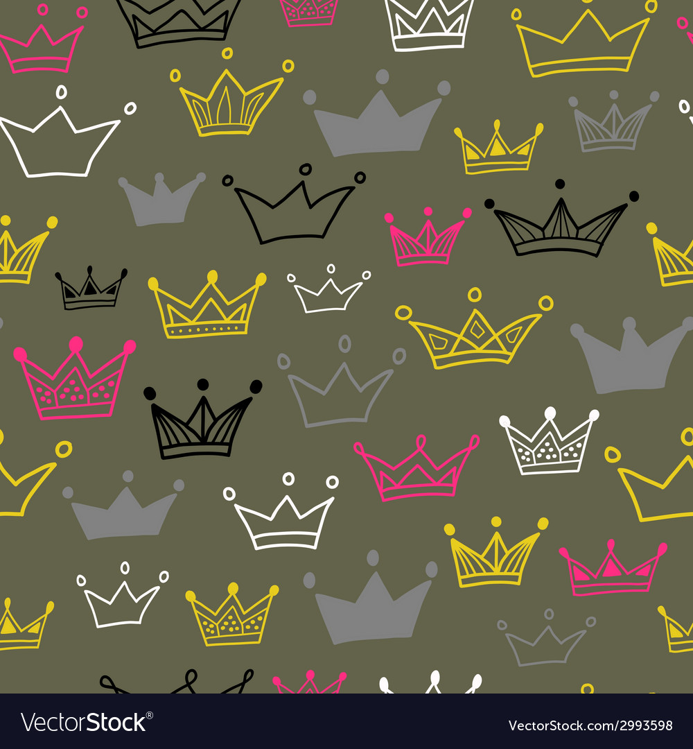 Crowns seamless pattern on pastel background vector | Price: 1 Credit (USD $1)
