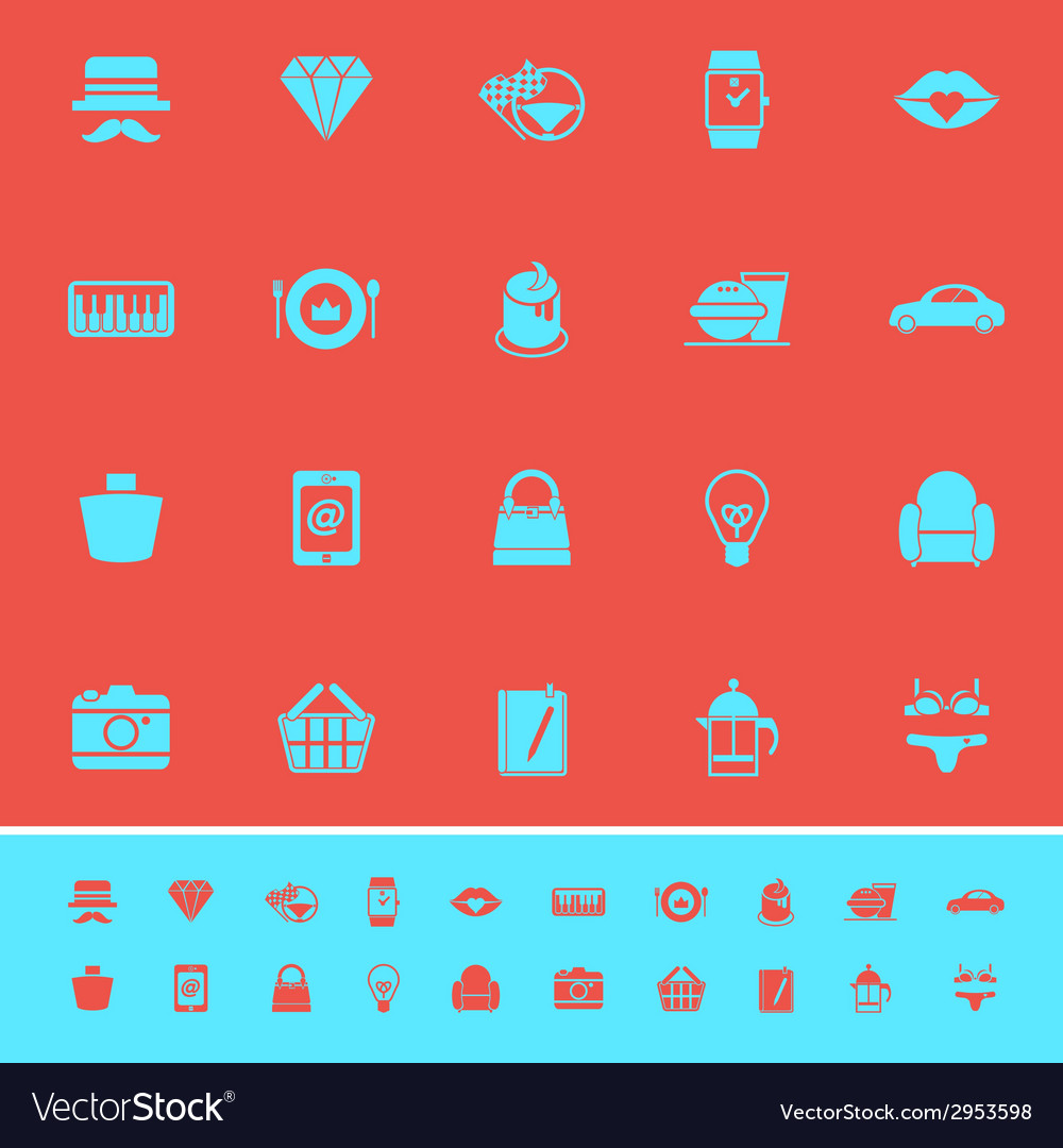 Department store item category color icons on red vector | Price: 1 Credit (USD $1)