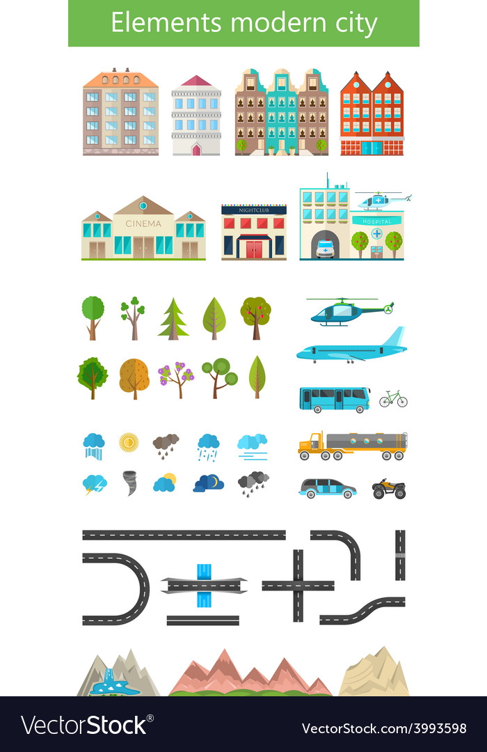 Elements of the modern city and nature vector | Price: 1 Credit (USD $1)