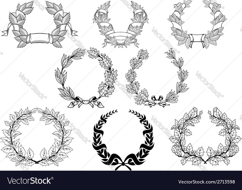 Retro wreathset vector | Price: 1 Credit (USD $1)