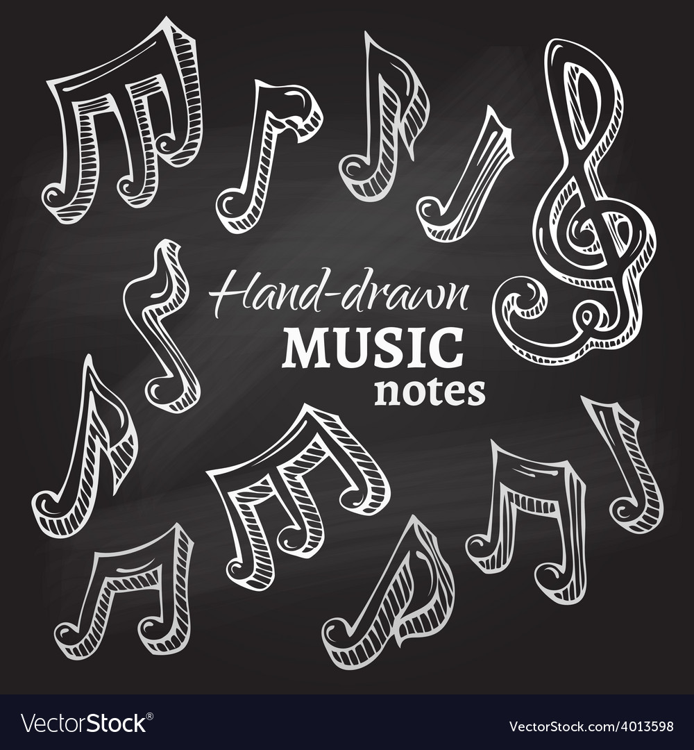 Set of chalk music icons vector | Price: 1 Credit (USD $1)