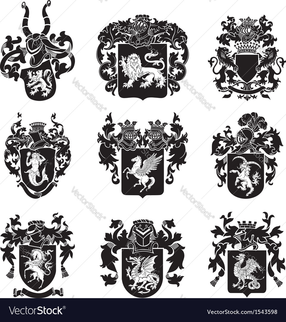 Set of heraldic silhouettes no4 vector | Price: 1 Credit (USD $1)