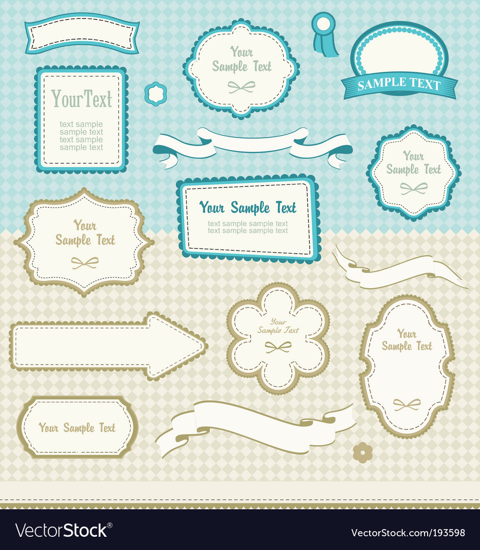 Set of retro design elements vector | Price: 1 Credit (USD $1)