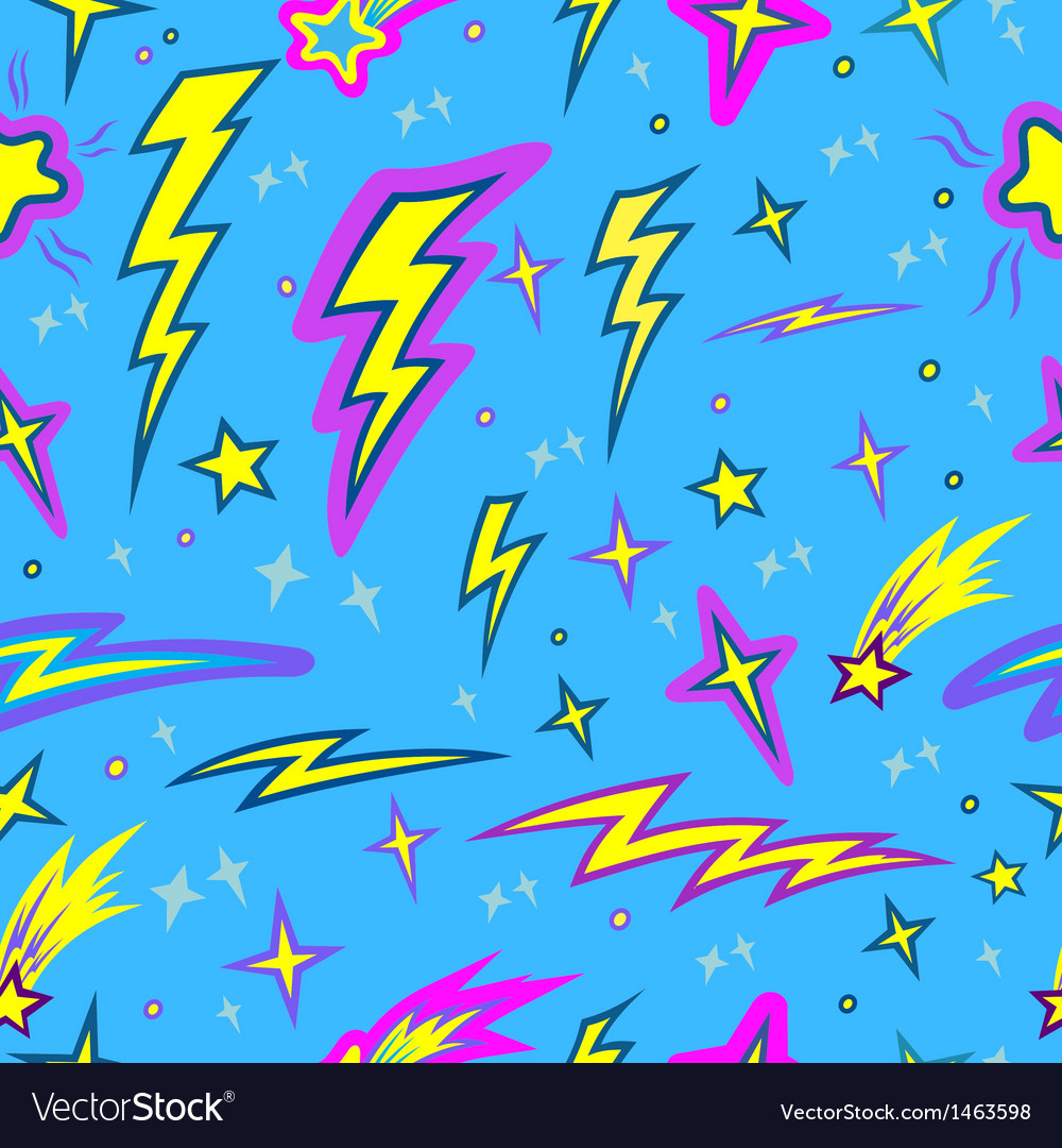 Star and lightning seamless pattern vector | Price: 1 Credit (USD $1)