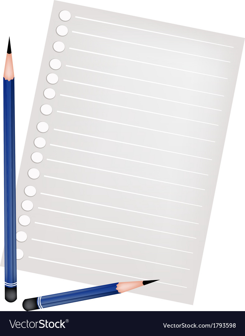 Two pencil lying on a blank page vector | Price: 1 Credit (USD $1)