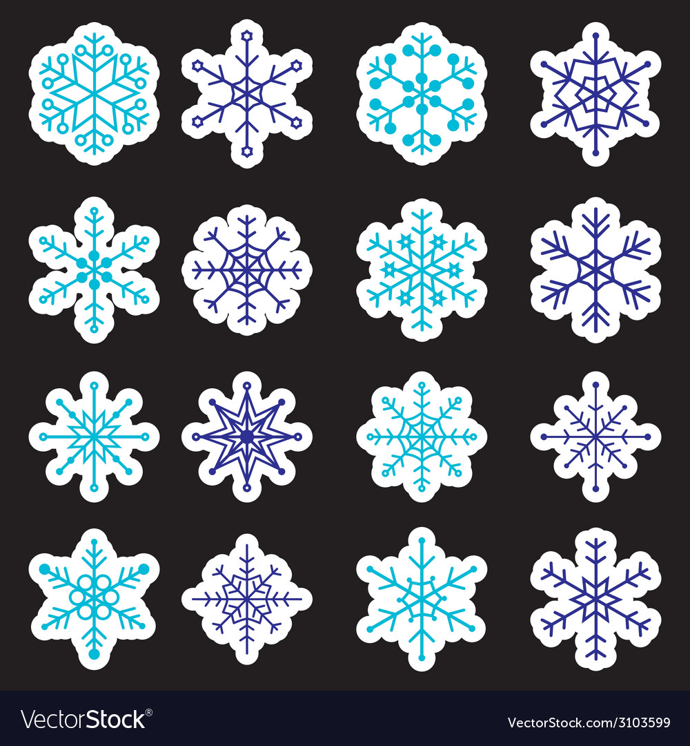 16 types of blue and white snowflakes stickers vector | Price: 1 Credit (USD $1)
