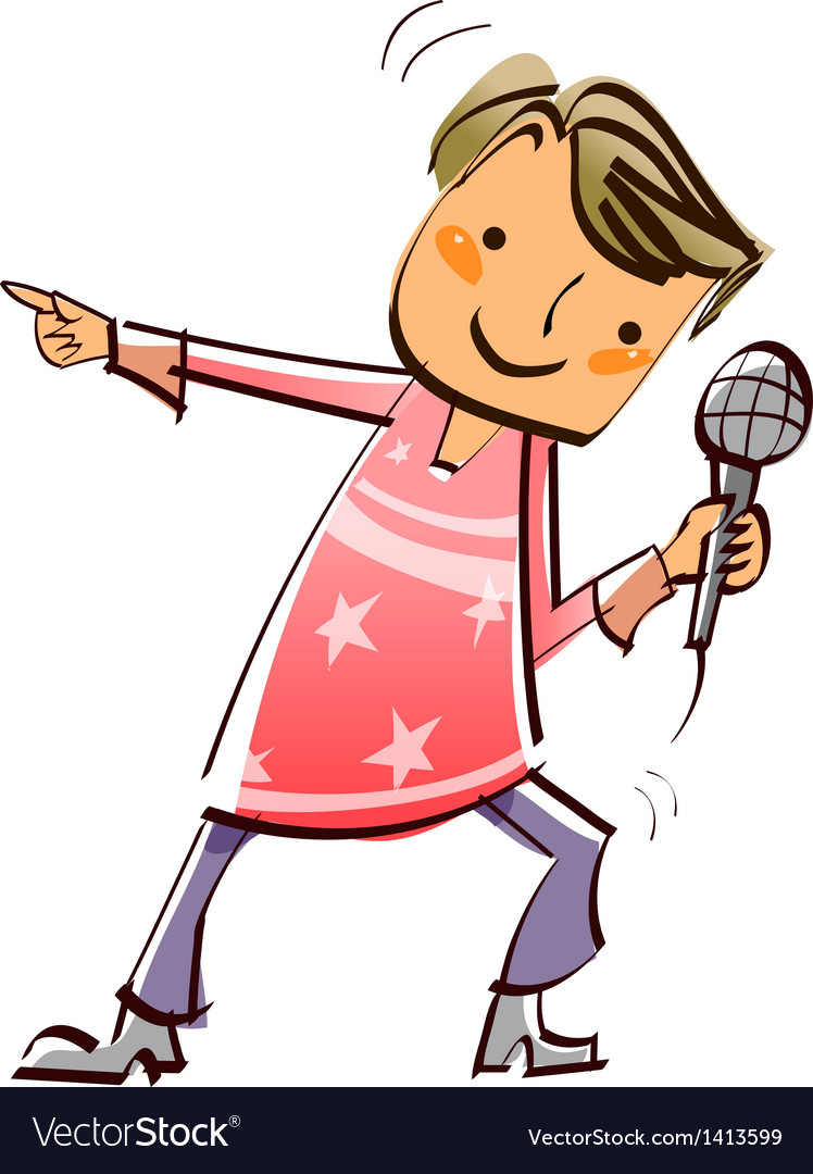 Close-up of boy holding microphone vector | Price: 3 Credit (USD $3)