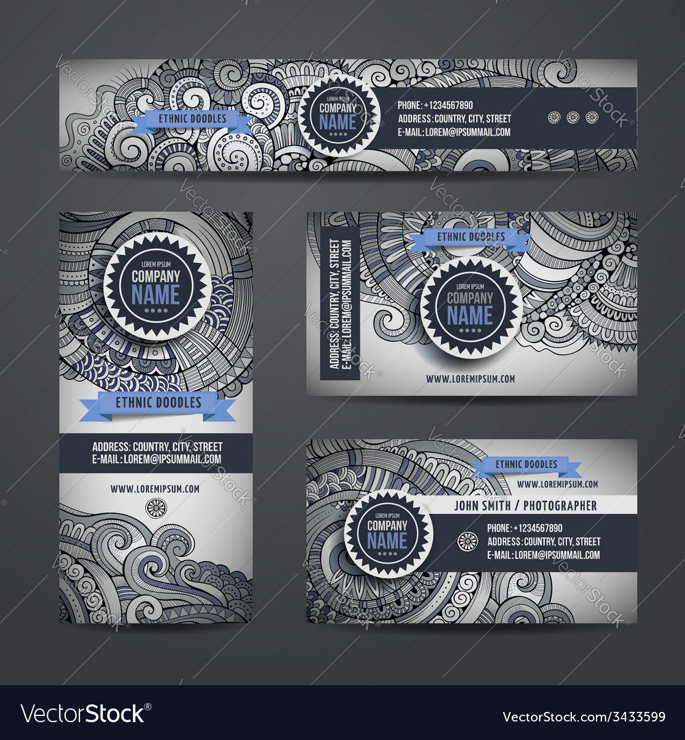Corporate identity with doodles ornamental ethnic vector | Price: 1 Credit (USD $1)