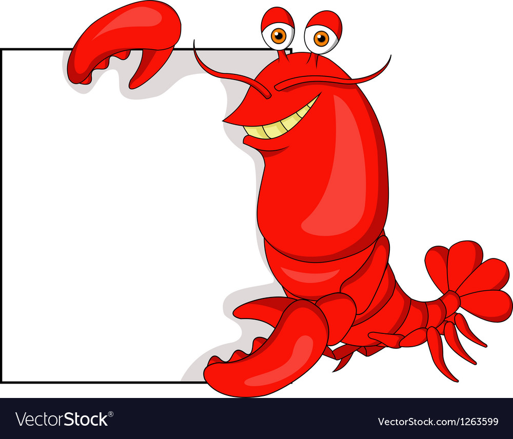 Lobster cartoon with blank sign vector | Price: 1 Credit (USD $1)