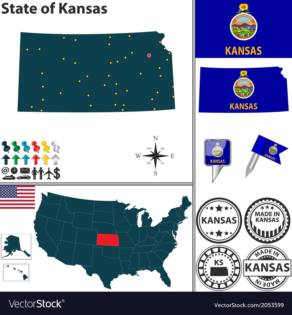 Map of kansas vector | Price: 1 Credit (USD $1)