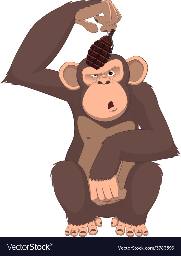 Monkey with a grenade vector | Price: 1 Credit (USD $1)