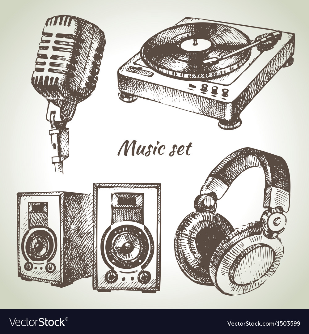 Music set hand drawn of dj icons vector | Price: 1 Credit (USD $1)