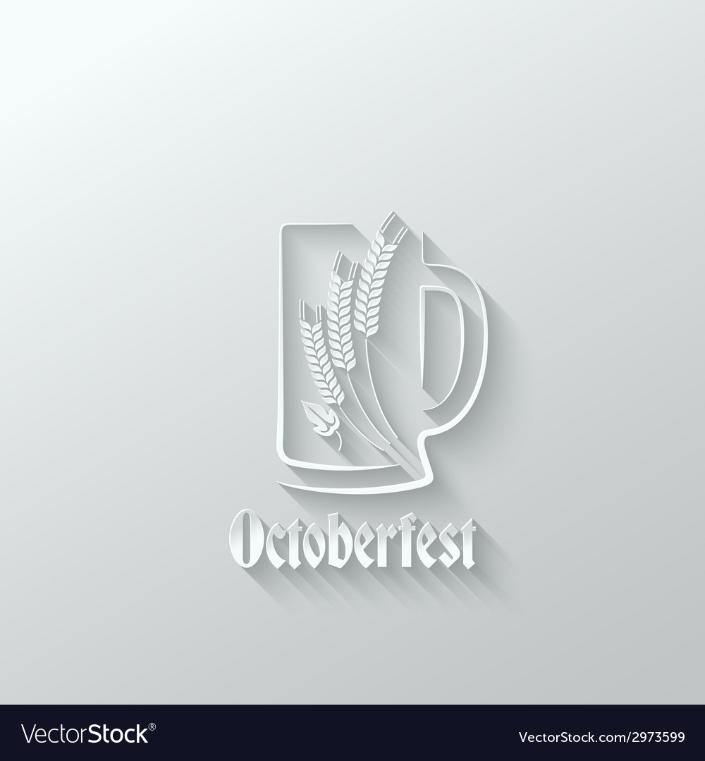 Octoberfest beer glass paper cut background vector | Price: 1 Credit (USD $1)