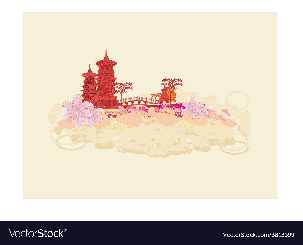 Old paper with chinese temple on asian landscape vector | Price: 1 Credit (USD $1)