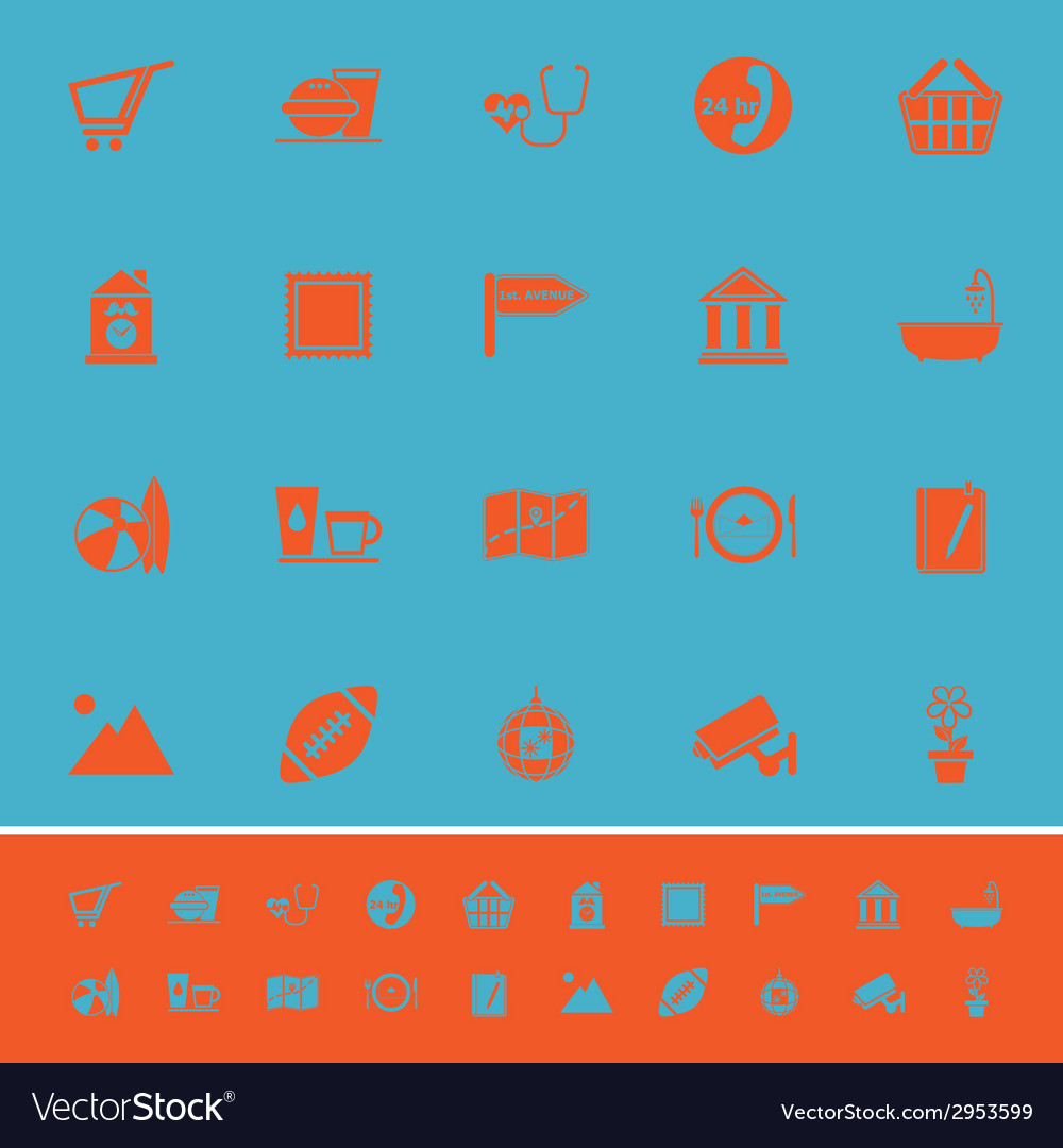 Public place sign color icons on light blue vector | Price: 1 Credit (USD $1)