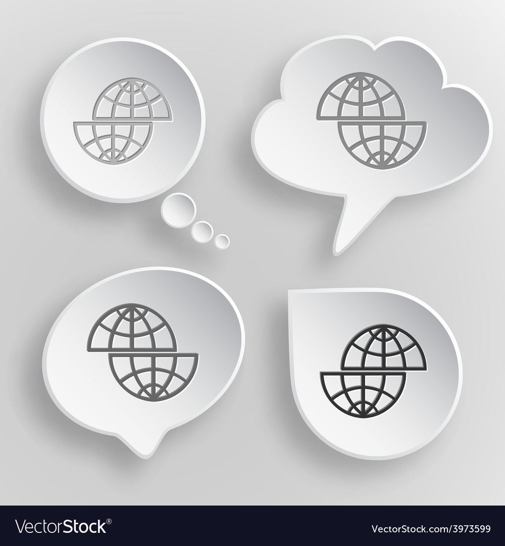 Shift globe white flat buttons on gray background vector | Price: 1 Credit (USD $1)
