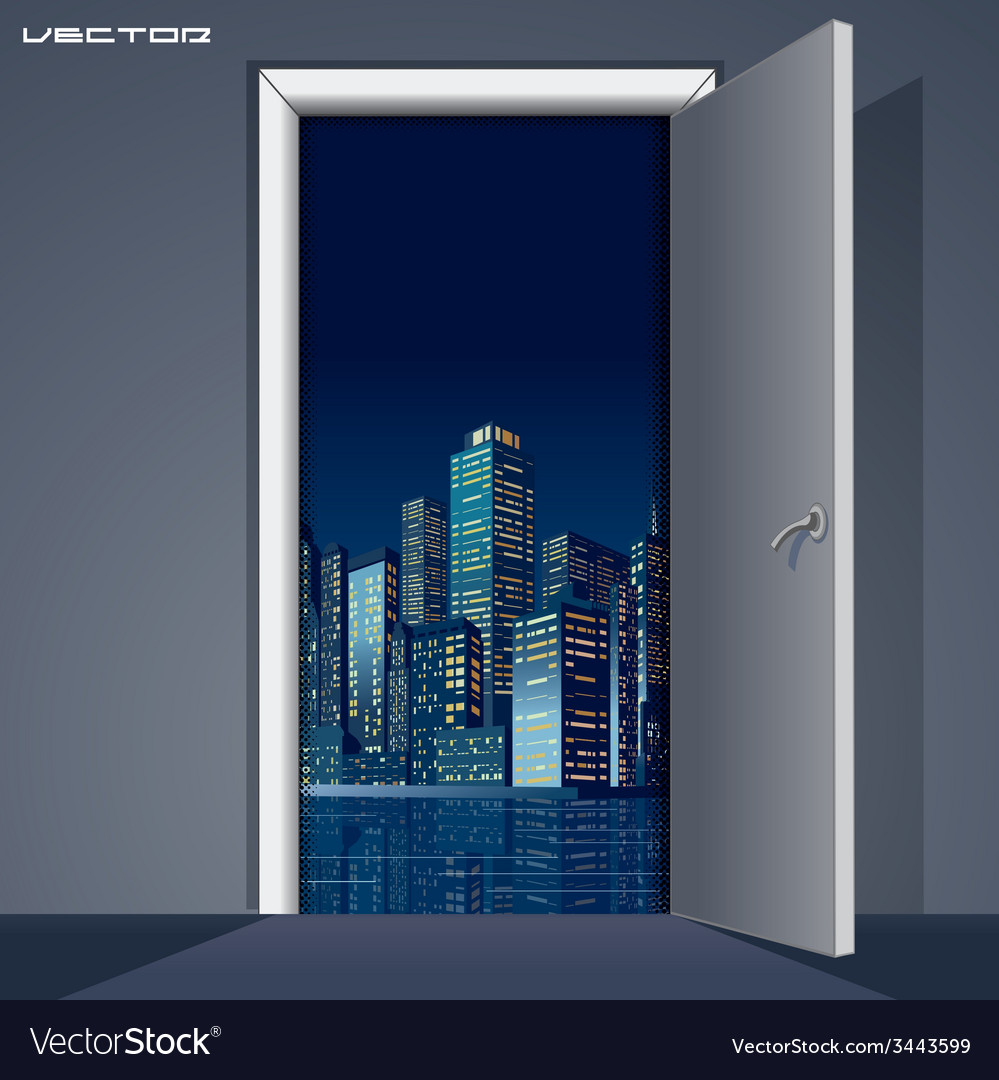 Skyline over door vector | Price: 1 Credit (USD $1)