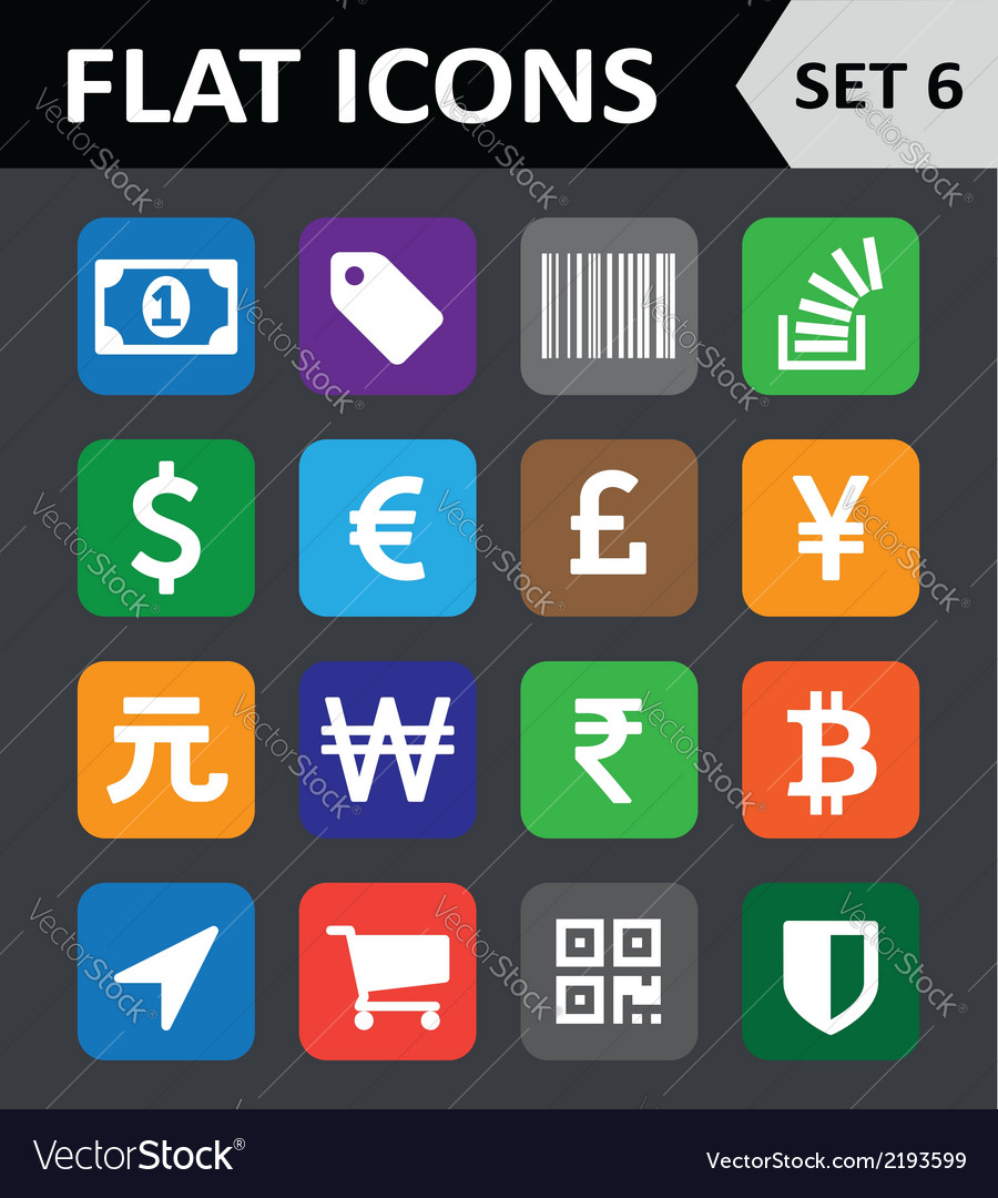 Universal colorful flat icons set 6 vector | Price: 1 Credit (USD $1)
