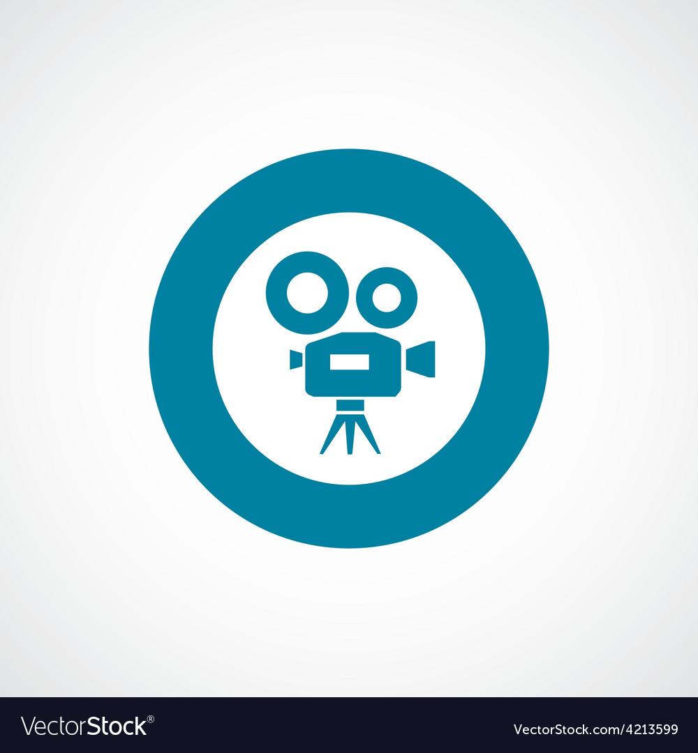 Video camera icon bold blue circle border vector | Price: 1 Credit (USD $1)